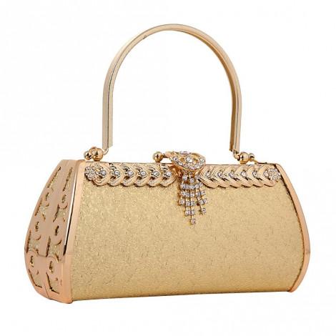 Women's Elegant Rhinestone Clutch Evening Handbag Purse with Chain for Party - beige