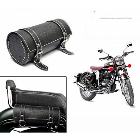 Bike Leatherette Back Seat Saddle Bag BLACK- Royal Enfield / Avenger / Bullet