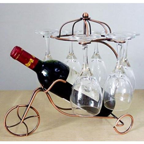 Vintage Parisian Style Bronze Tricycle 6 Wine Glass & Bottle Server Display Rack Organizer Stand