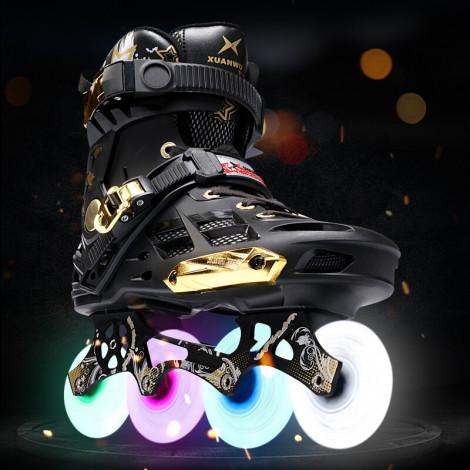 Inline Professional Adult Slalom Sliding Flash Ice Skates Shoes Adjustable  Washable 85A Flash PU Wheels Panties Adulto Women
