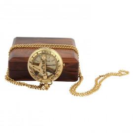 Artshai Premium Luxury Pocket Watch With Chain And Wooden Box (Wood)