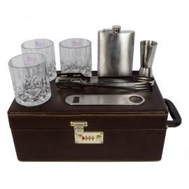 Black Butterfly Bar accessories | Mega Bar Set | Portable Leatherette Briefcase Bar Set ,Black