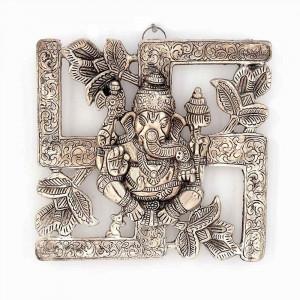 Antique White Metal Swastik Ganesh Hanging (313, Silver)