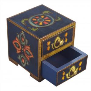 Store Indya Small Wooden Chest of 2 Drawers Keepsake Storage Jewellery Storage Box Organizer Multinational Dresser Armoire Furniture with Ornate Designs Gift Ideas For Women & Girls