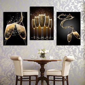 Stretched Canvas Art Romantic Splash The Wine Set of 3